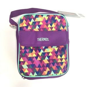 Thermos Purple Inulated Lunch Bag Triangle Print